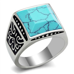 BA0185 BOBIJOO Jewelry Ring Signet Ring Man Steel Turquoise Marble