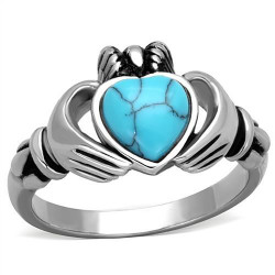 BAF0028 BOBIJOO Jewelry Claddagh Ring Fermine Alliance Engagement Heart Turquoise