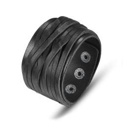 BR0194 BOBIJOO Jewelry Armband Manschette für männer und frauen Leder Schwarz 4cm