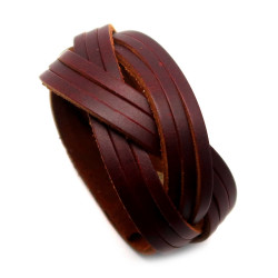 BR0197 BOBIJOO Jewelry Bracciale Unisex in Pelle Marrone Strisce Intrecciate 3.4 cm