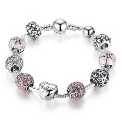 Bracelet Charms Amour Love Amor Rose Argenté