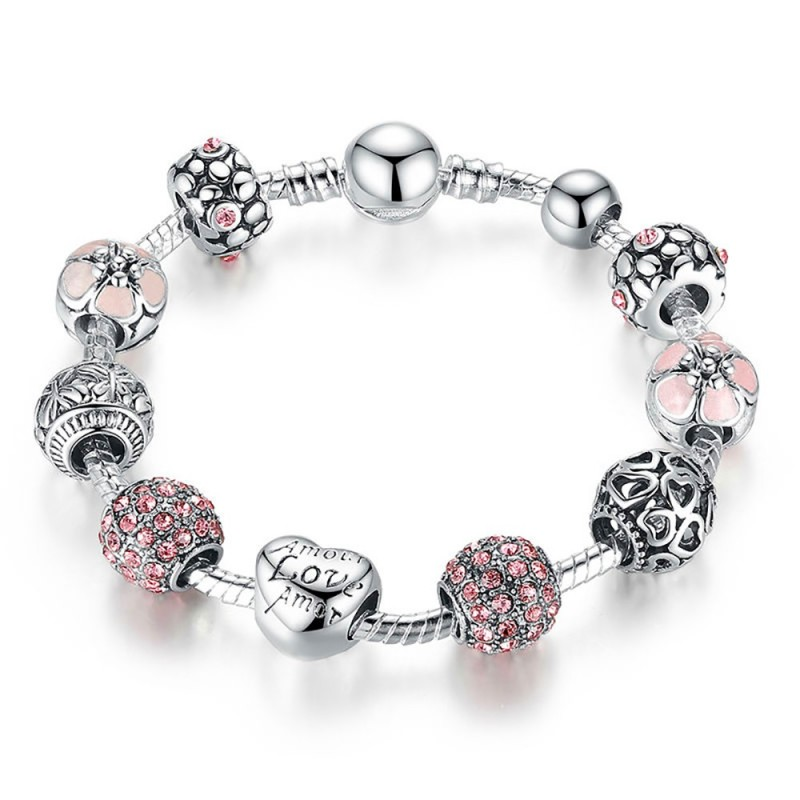 BR0202 BOBIJOO Jewelry Bracelet Charms Amour Love Amor Rose Argenté