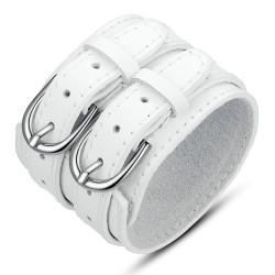 Bracelet Manchette Cuir Unisexe Large Double Ceinture Blanc bobijoo