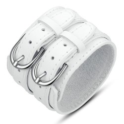 BR0204 BOBIJOO Jewelry Cuff Bracelet Leather Unisex Large Double Belt White