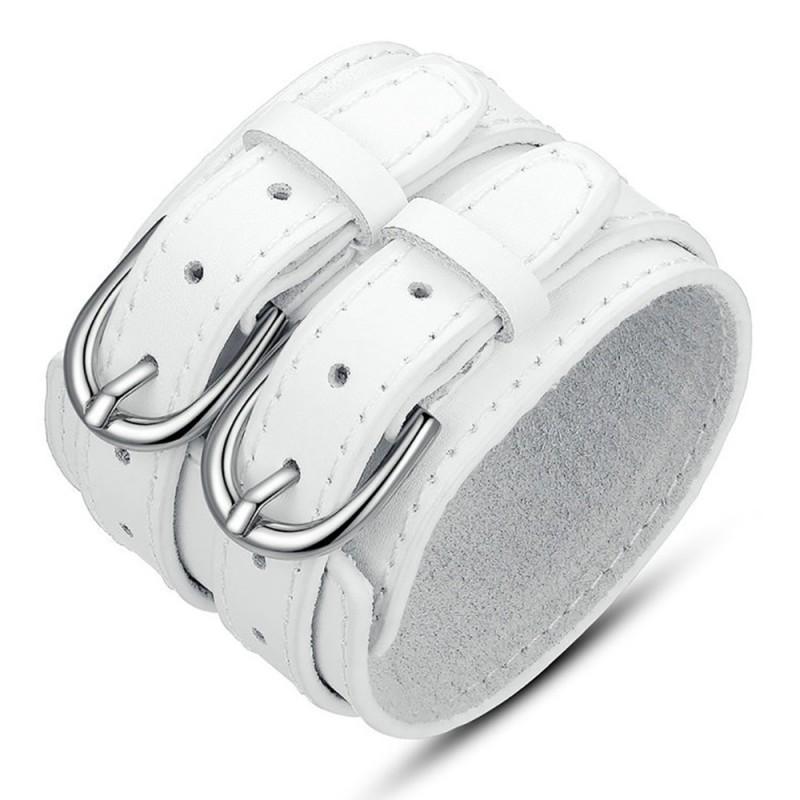 BR0204 BOBIJOO Jewelry Bracelet Manchette Cuir Unisexe Large Double Ceinture Blanc