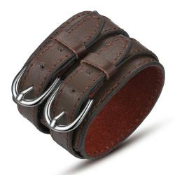 Bracelet Manchette Cuir Unisexe Large Double Ceinture Marron bobijoo