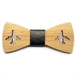NP0012 BOBIJOO Jewelry Bow tie wood bamboo aircraft Aviation