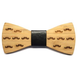NP0014 BOBIJOO Jewelry Bambus Wood Bow Tie með Mustaches