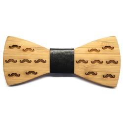 Noeud Papillon Bois Bambou Décor Moustaches bobijoo