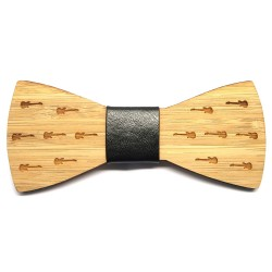 NP0015 BOBIJOO Jewelry Bowtie Bambus Holz graviert Gitarren