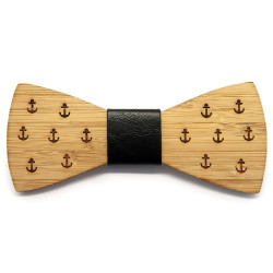 NP0016 BOBIJOO Jewelry Noeud Papillon Bois Bambou Ancre Marine
