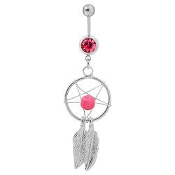 PIP0029 BOBIJOO Jewelry Piercing Ombelico In Acciaio Catture Da Sogno Strass Argento Rosa