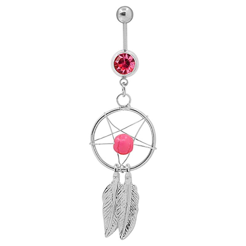 PIP0029 BOBIJOO Jewelry Piercing Nombril Acier Attrape Rêve Strass Argenté Rose