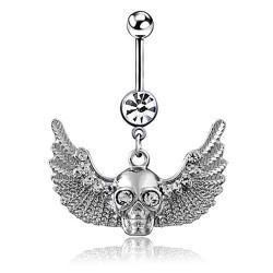 PIP0032 BOBIJOO Jewelry Piercing Nombril Acier Chirurgical Tête de Mort Aillée Strass