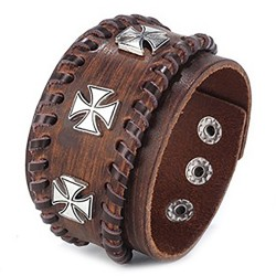 BR0212 BOBIJOO Jewelry Cuff Bracelet Man Brown Leather Templar Cross Pattée