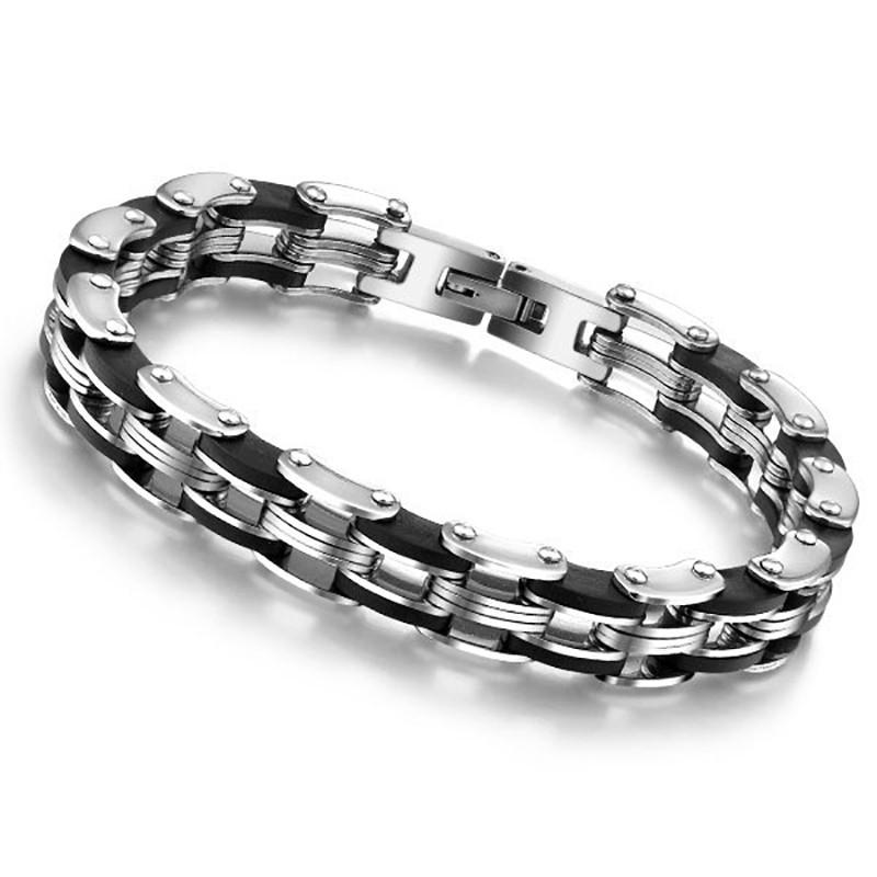 BR0015 BOBIJOO Jewelry Pulsera de Cadena de Hombre de Acero inoxidable, Silicona de 8 mm
