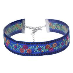 COF0020B BOBIJOO Jewelry Collo rotondo Fiore in Tessuto Blu, Boemia