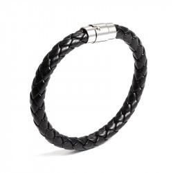 Bracelet Black Leather Braided