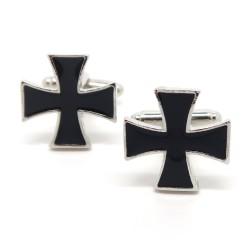 BM0026 BOBIJOO Jewelry Boutons de Manchette Vintage Croix Noires Templier