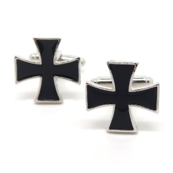 BM0026 BOBIJOO Jewelry Cufflinks Vintage Cross Black Templar