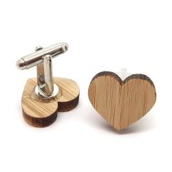 Boutons de Manchette Bois Coeur Love Amour bobijoo
