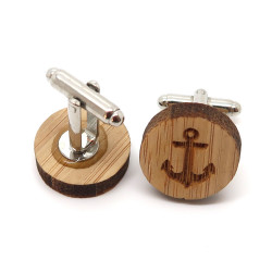 BM0029 BOBIJOO Jewelry Manschettenknöpfe Holz-Anker-Marine