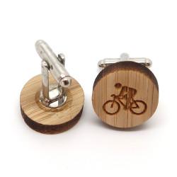 BM0032 BOBIJOO Jewelry Manschettenknöpfe Holz Radfahrer Fahrrad