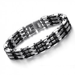 BR0018 BOBIJOO Jewelry Armband-Kette herren Stahl Silikon 12 mm