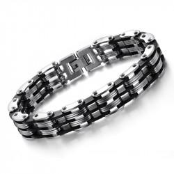 BR0018 BOBIJOO Jewelry Bracciale Catena Uomo in Acciaio inossidabile, Silicone 12 mm
