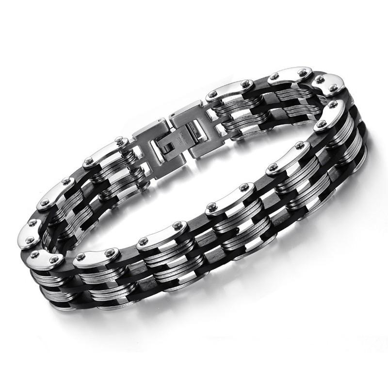 Bracelet Chaine Homme Acier Silicone 12 mm bobijoo