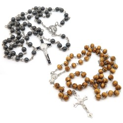 CP0037 BOBIJOO Jewelry Lot 2 Rosaries Hematite Saint Benedict + Virgin Wood