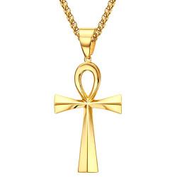 PE0071 BOBIJOO Jewelry Ciondolo Croce della Vita Egiziana Dorato finitura Oro 64mm