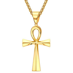 PE0071 BOBIJOO Jewelry Pendant Cross of Life Egyptian Gilded Gold finish 64mm