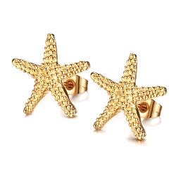 BOF0083 BOBIJOO JEWELRY Pendientes de Mujer de la Estrella de Mar de Oro de Oro