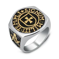 BA0068 BOBIJOO Jewelry Ring Siegelring Kreuz der Tempelritter, die Freimaurer Signum Templi Militi