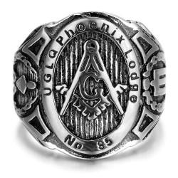 BA0187 BOBIJOO Jewelry Anello con sigillo Massoneria UGLQ PHOENIX LOGDE 85