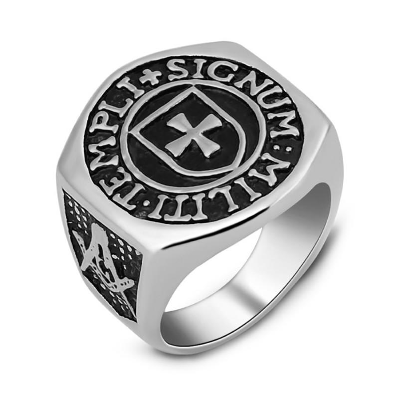 BA0188 BOBIJOO Jewelry Bague Chevalière Croix Templier Franc Maçon Templi Signum Militi