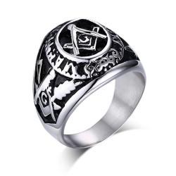 BA0203 BOBIJOO Jewelry Ring Siegelring Master Mason Freimaurer