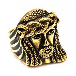 BA0190 BOBIJOO Jewelry Grande Anello Anello In Acciaio Inox Dorato Gesù