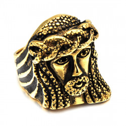 BA0190 BOBIJOO Jewelry Large Ring Signet Ring Stainless Steel Golden Jesus