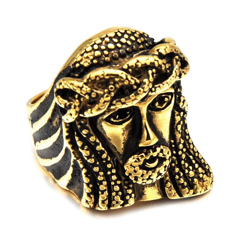 BA0190 BOBIJOO Jewelry Large Bague Chevalière Acier Inoxydable Doré Jesus