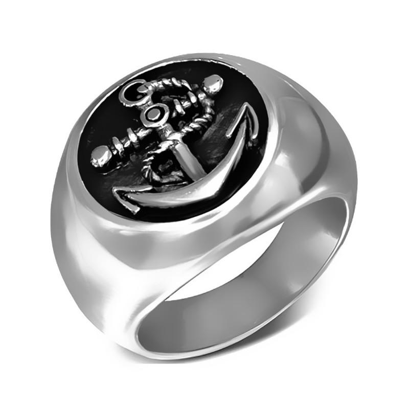 BA0191 BOBIJOO Jewelry Bague Chevalière Ronde Acier Argenté Ancre Marine