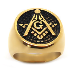 BA0192 BOBIJOO Jewelry Ring Signet Ring, Round Gold Plated End Freemasonry