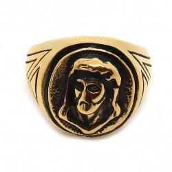 BA0194 BOBIJOO Jewelry Rotonda Anello Uomo In Acciaio Dorato Oro Nero Capo, Gesù Cristo