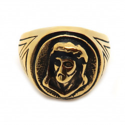 BA0194 BOBIJOO Jewelry Round Ring Man Steel Golden Gold Fine Black Head, Jesus Christ