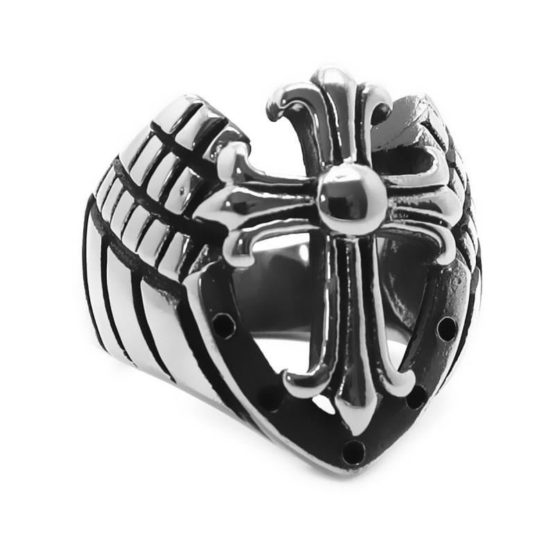 BA0195 BOBIJOO Jewelry Bague Armure Templier Chevalier Croix Acier Inoxydable