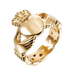 BAF0032 BOBIJOO Jewelry Claddagh Ring Fermme Alliance Wedding Engagement Golden Gold End