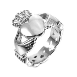 BAF0033 BOBIJOO Jewelry Claddagh Fermme Ring Wedding Engagement Silver Ring