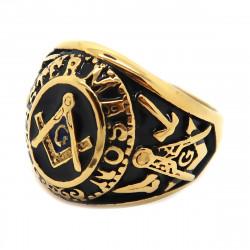 BA0019 BOBIJOO Jewelry Chevalière Bague Franc-Maçonnerie Maître Noir Bleu Acier