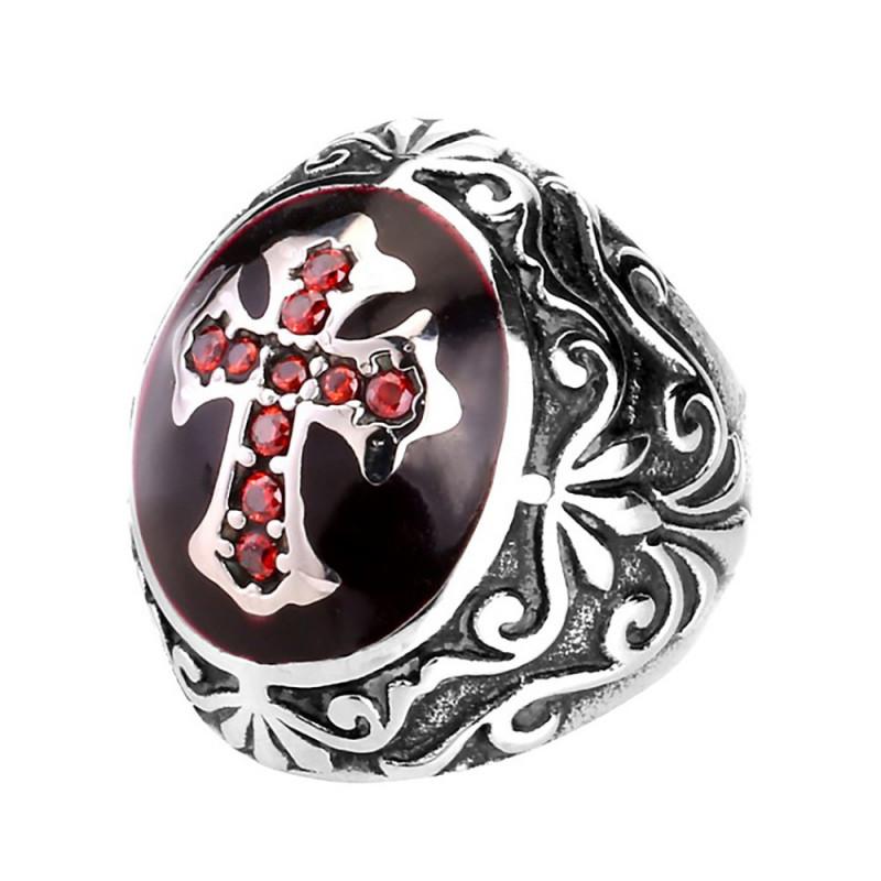BA0205 BOBIJOO Jewelry Bague Chevalière Homme Rouge Croix Latine templier Acier